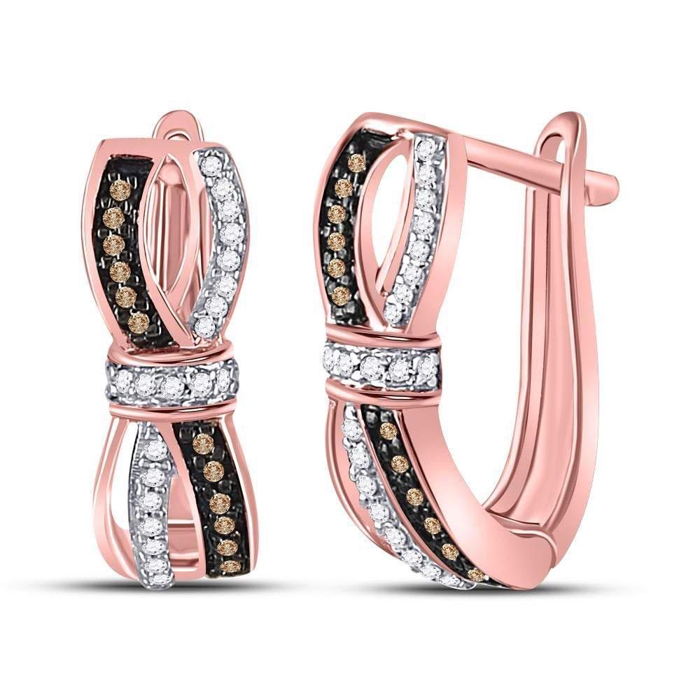 Round Brown Diamond Fashion Hoop Earrings 1/5 Cttw 10kt