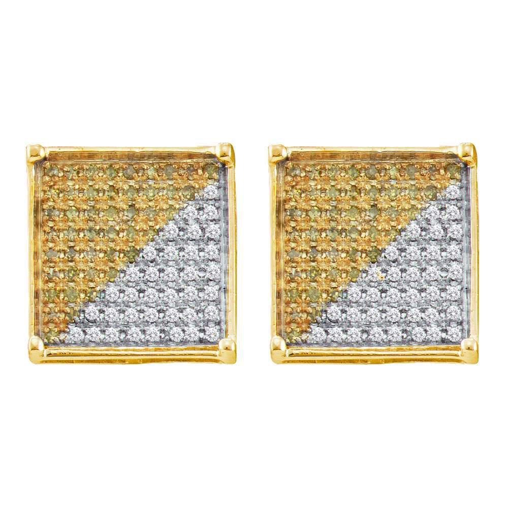 Mens Round Yellow Color Enhanced Diamond Square Cluster
