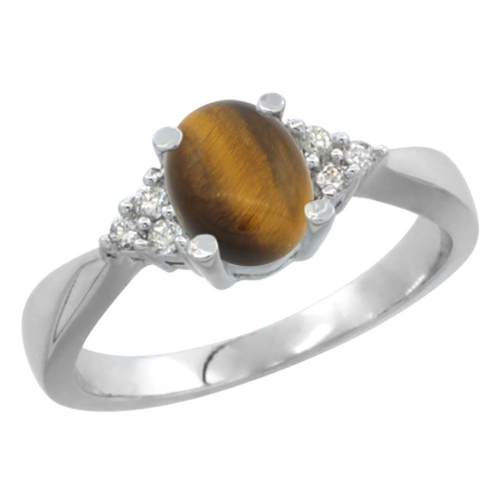 0.81 CTW Tiger Eye & Diamond Ring 14K White Gold -