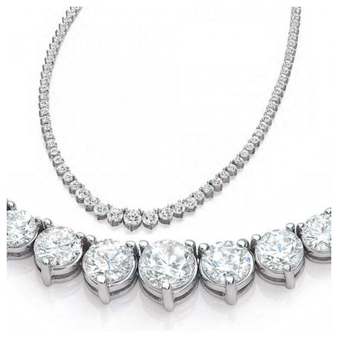 Natural 9.61CTW VS2/I-J Diamond Tennis Necklace 14K
