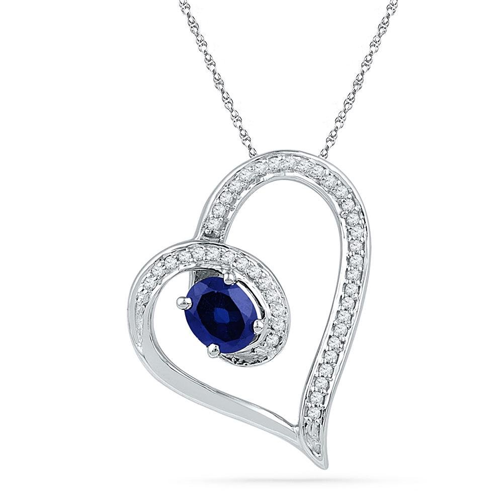 Oval Lab-Created Blue Sapphire Heart Outline Pendant