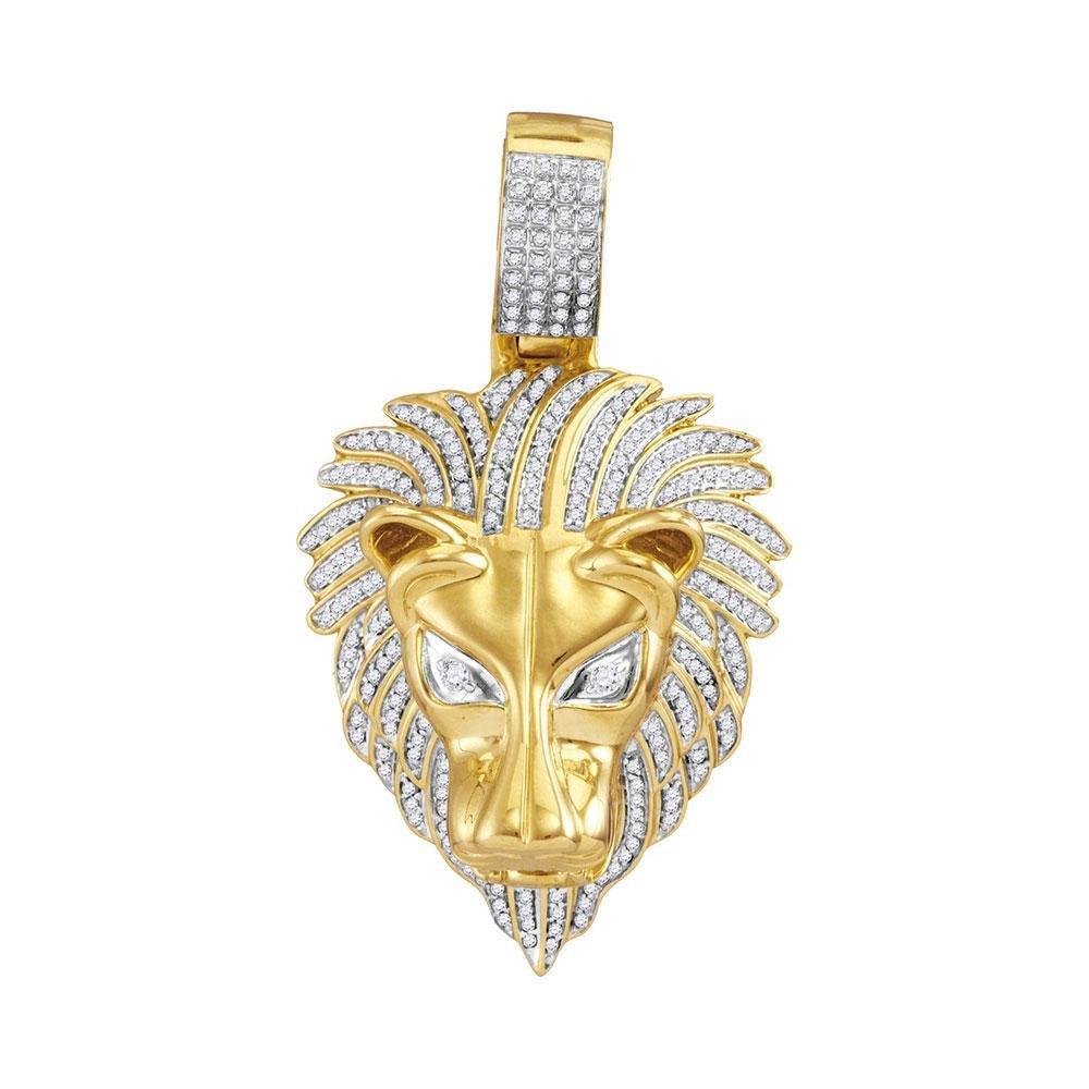 Mens Diamond Lion Head Animal Charm Pendant 7/8 Cttw