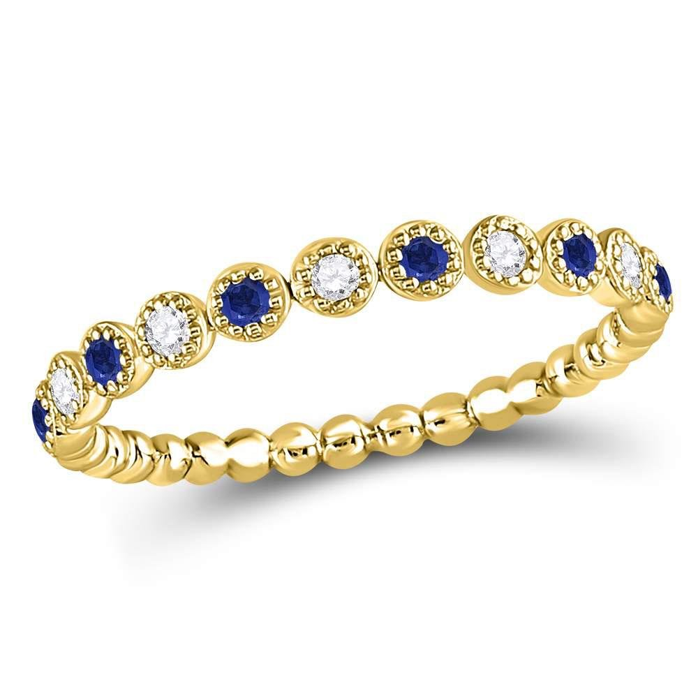 Round Blue Sapphire Diamond Beaded Dot Stackable Band