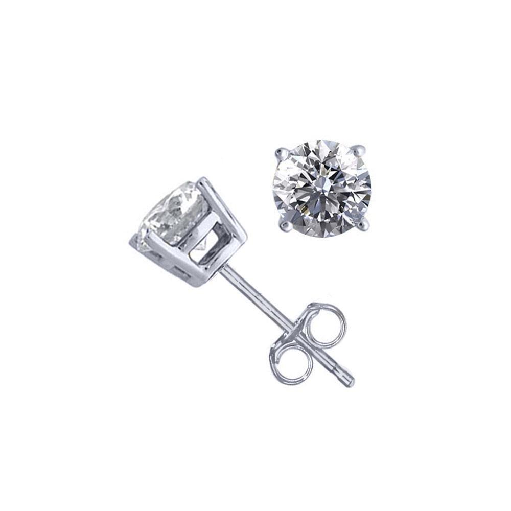 14K White Gold 1.02 ctw Natural Diamond Stud Earrings -