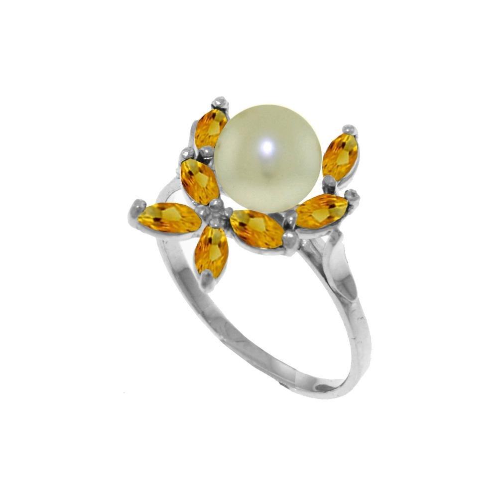 Genuine 2.65 ctw Pearl & Citrine Ring 14KT White Gold -