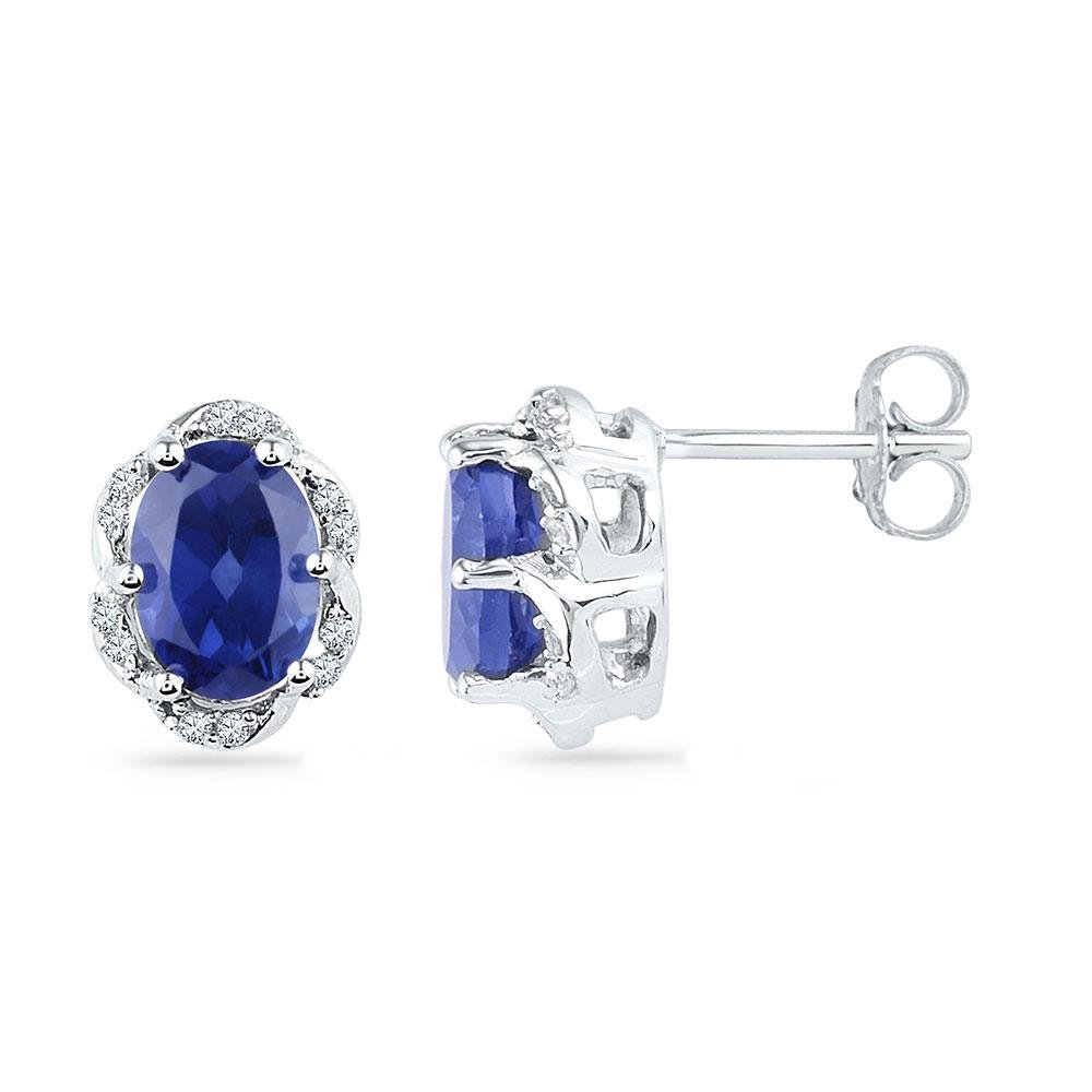 Oval Lab-Created Blue Sapphire Solitaire Diamond