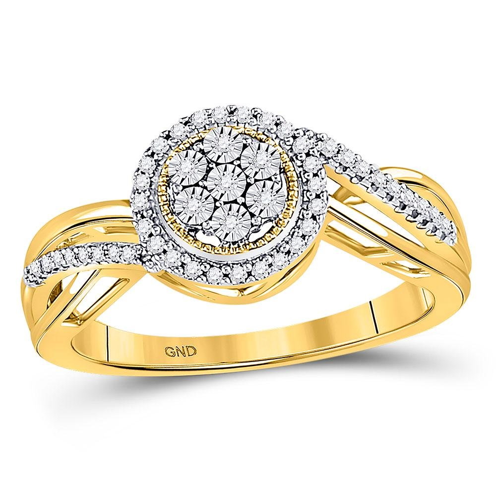 Diamond Flower Cluster Ring 1/6 Cttw 10kt Yellow Gold