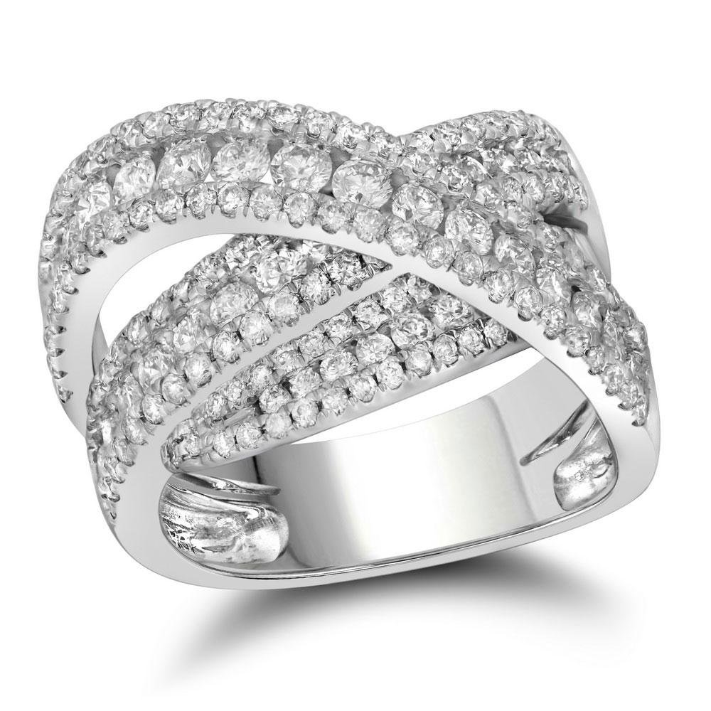 Diamond Crossover Fashion Ring 2-1/5 Cttw 10kt White