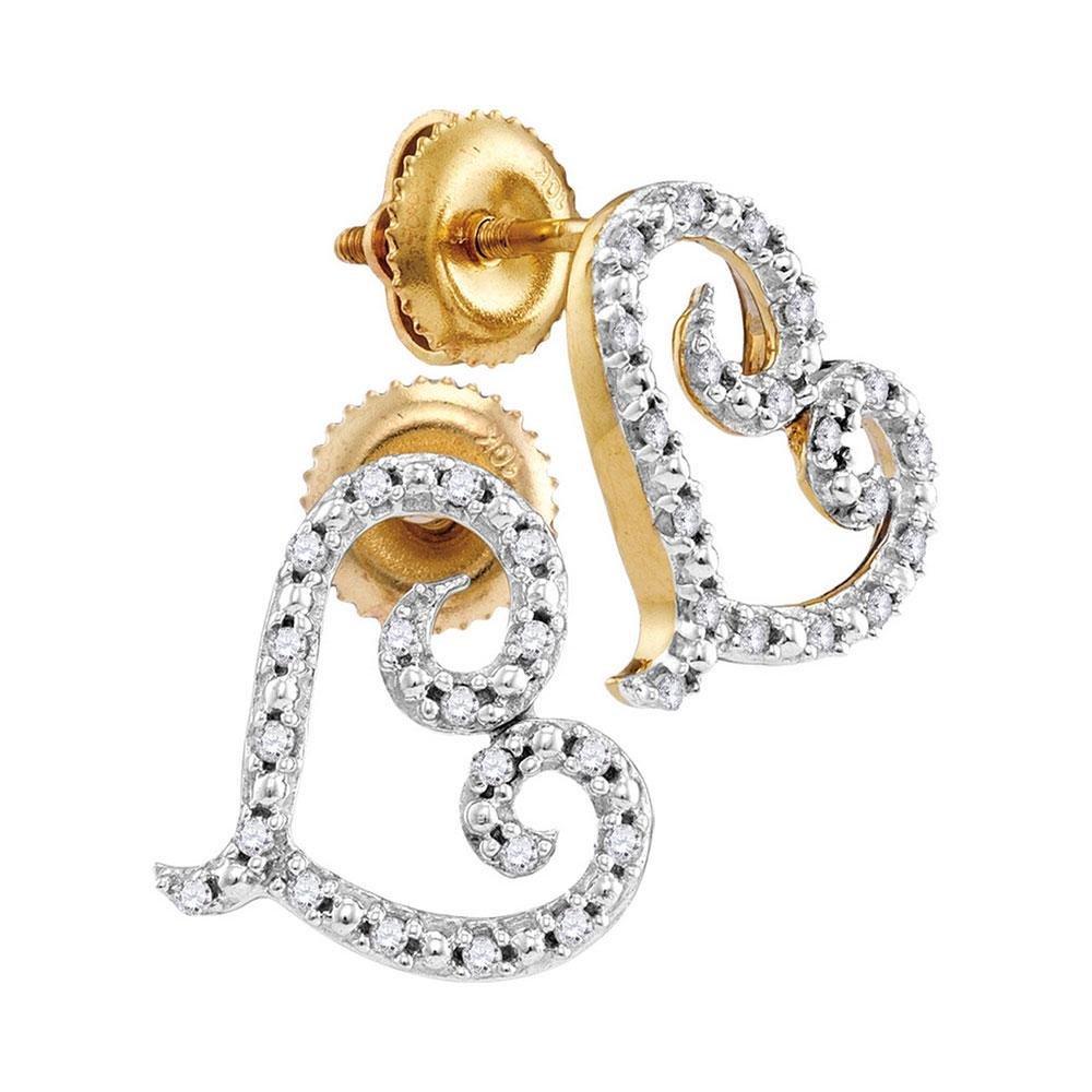 Diamond Heart Earrings 1/6 Cttw 10kt Yellow Gold
