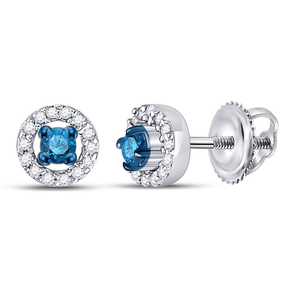 Round Blue Color Enhanced Diamond Stud Earrings 1/5
