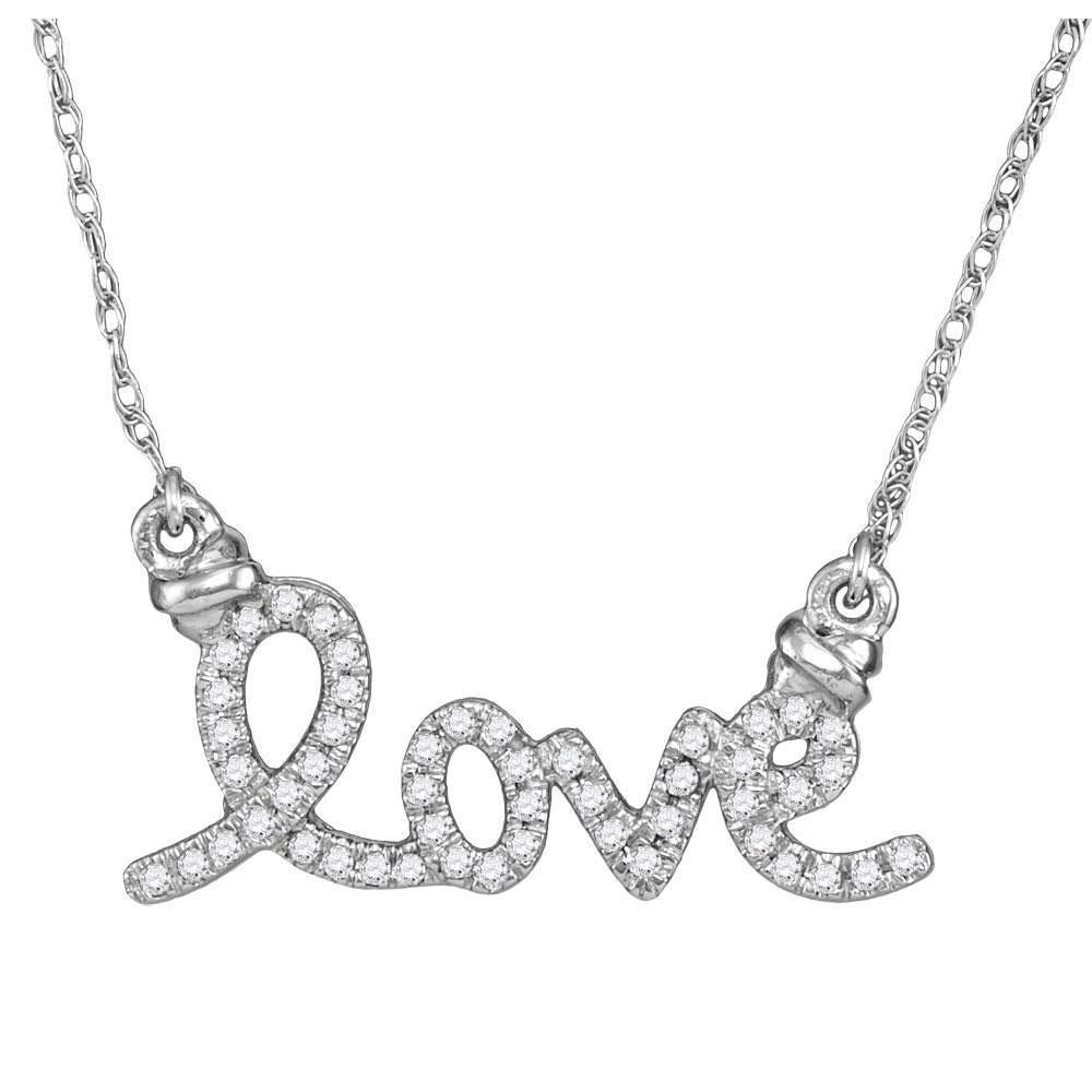 Diamond Cursive Love Pendant Necklace 1/8 Cttw 10kt