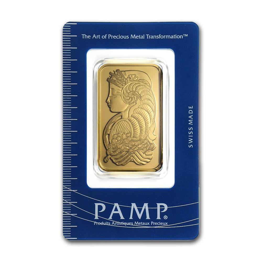Genuine 1 oz 0.9999 Fine Gold Bar - PAMP Suisse Lady