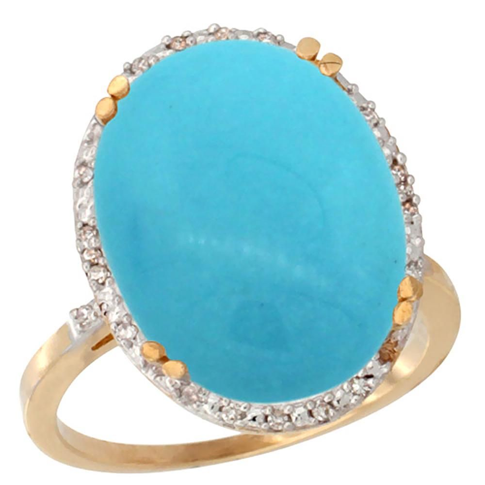 13.71 CTW Turquoise & Diamond Ring 14K Yellow Gold -