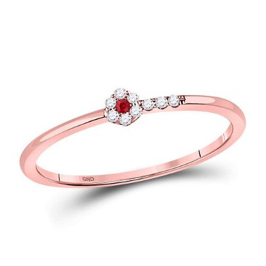 Round Ruby Diamond Stackable Band Ring 1/20 Cttw 10kt