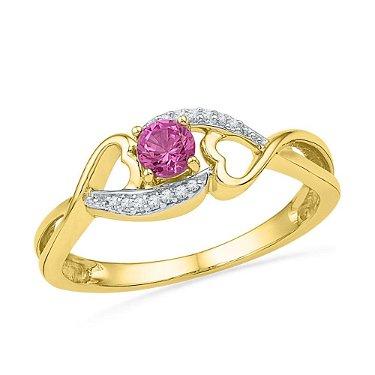Round Lab-Created Pink Sapphire Diamond Heart Ring 1/20