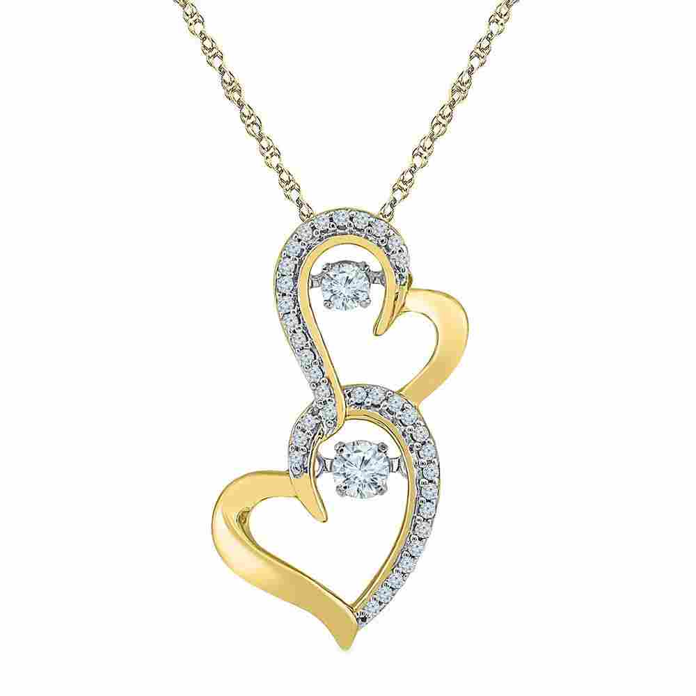 Diamond Moving Twinkle Solitaire Double Heart Pendant