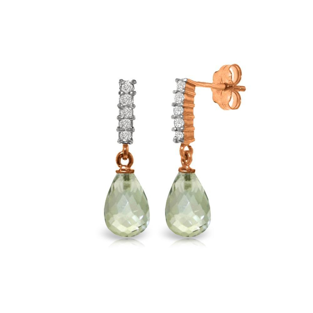 Genuine 4.65 ctw Green Amethyst & Diamond Earrings 14KT
