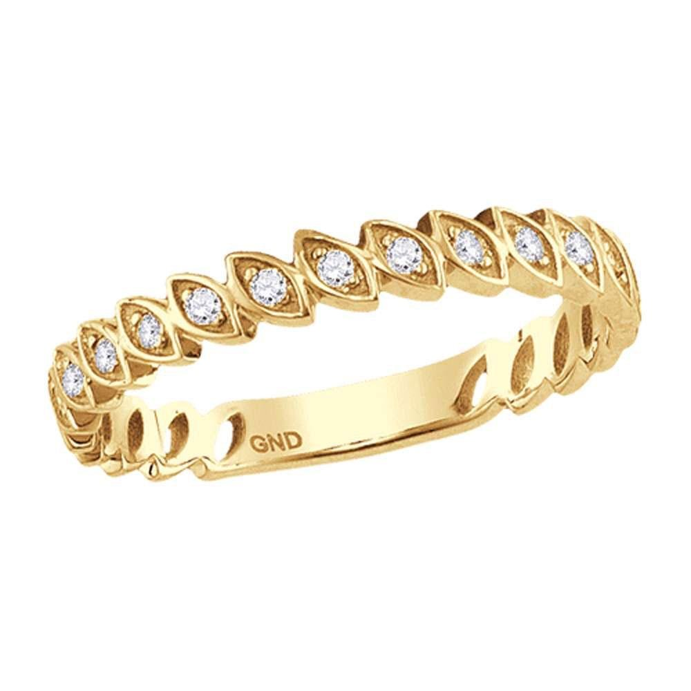 Diamond Ovals Stackable Band Ring 1/10 Cttw 10kt Yellow