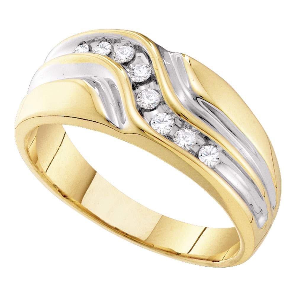 Mens Diamond Wedding Band Ring 1/4 Cttw 10kt Yellow
