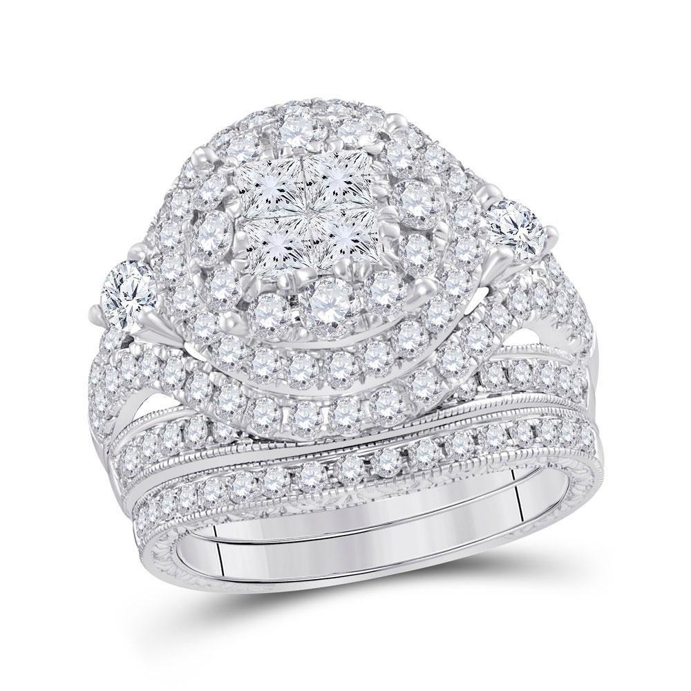 Diamond Bridal Wedding Engagement Ring Band Set 2-3/4