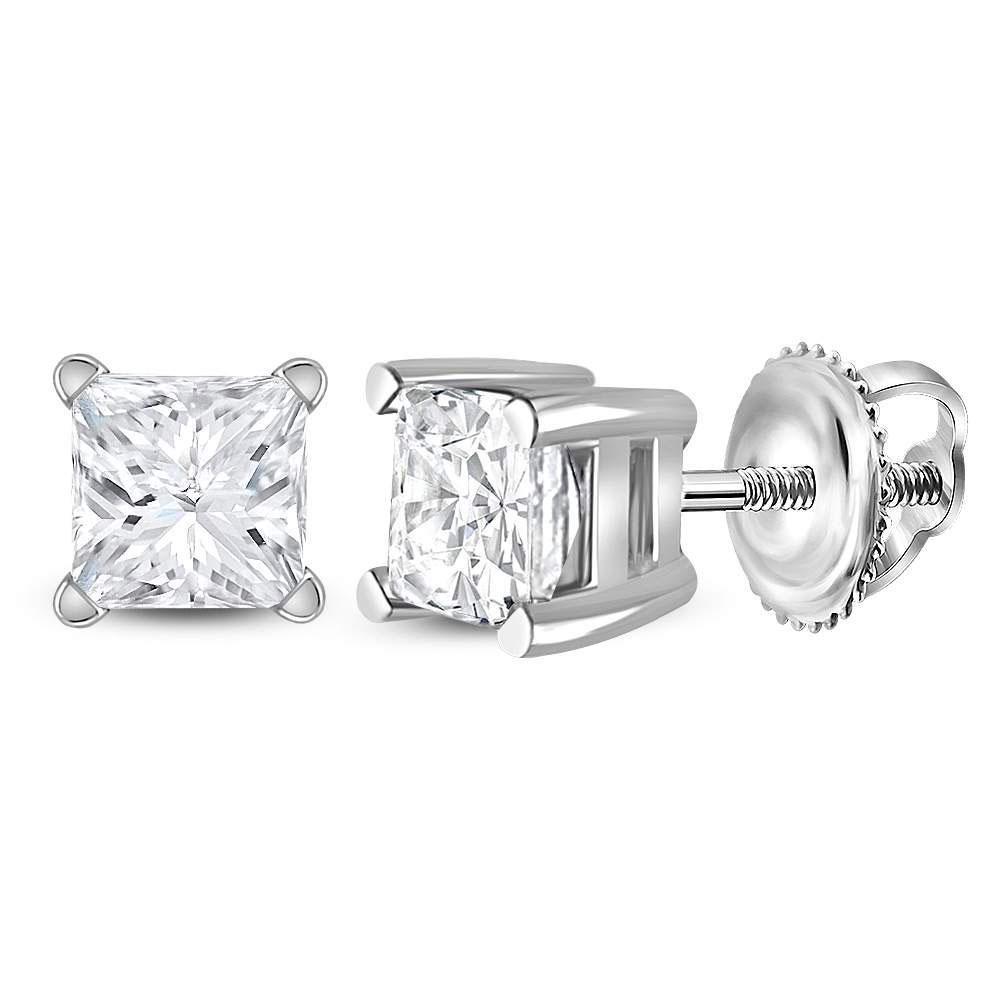 Unisex Diamond Solitaire Stud Earrings 3/4 Cttw 14kt