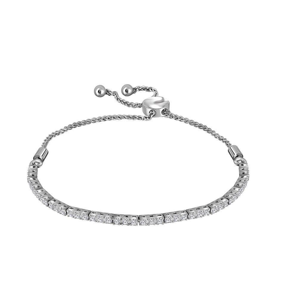 Diamond Bolo Bracelet 1.00 Cttw 14kt White Gold