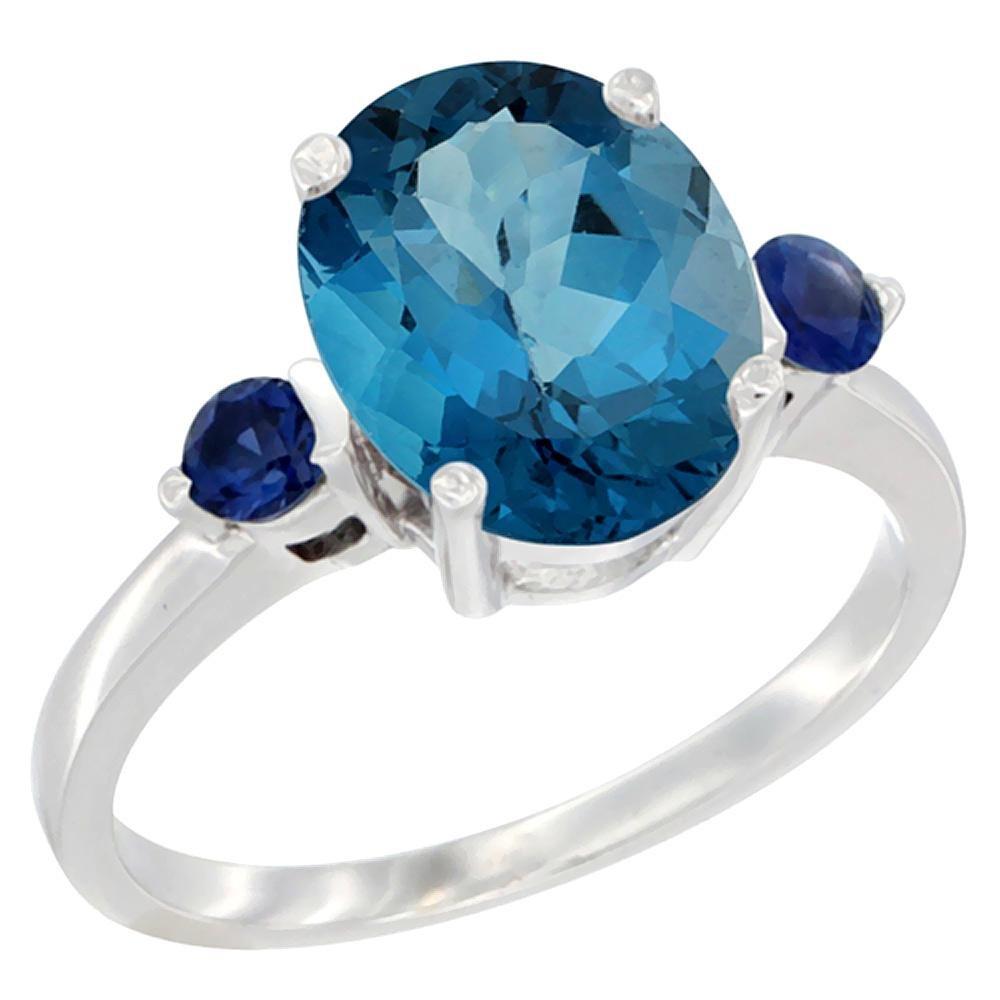 2.64 CTW London Blue Topaz & Blue Sapphire Ring 10K