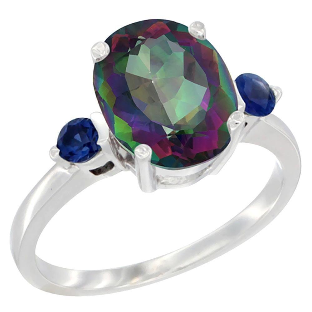2.64 CTW Mystic Topaz & Blue Sapphire Ring 10K White