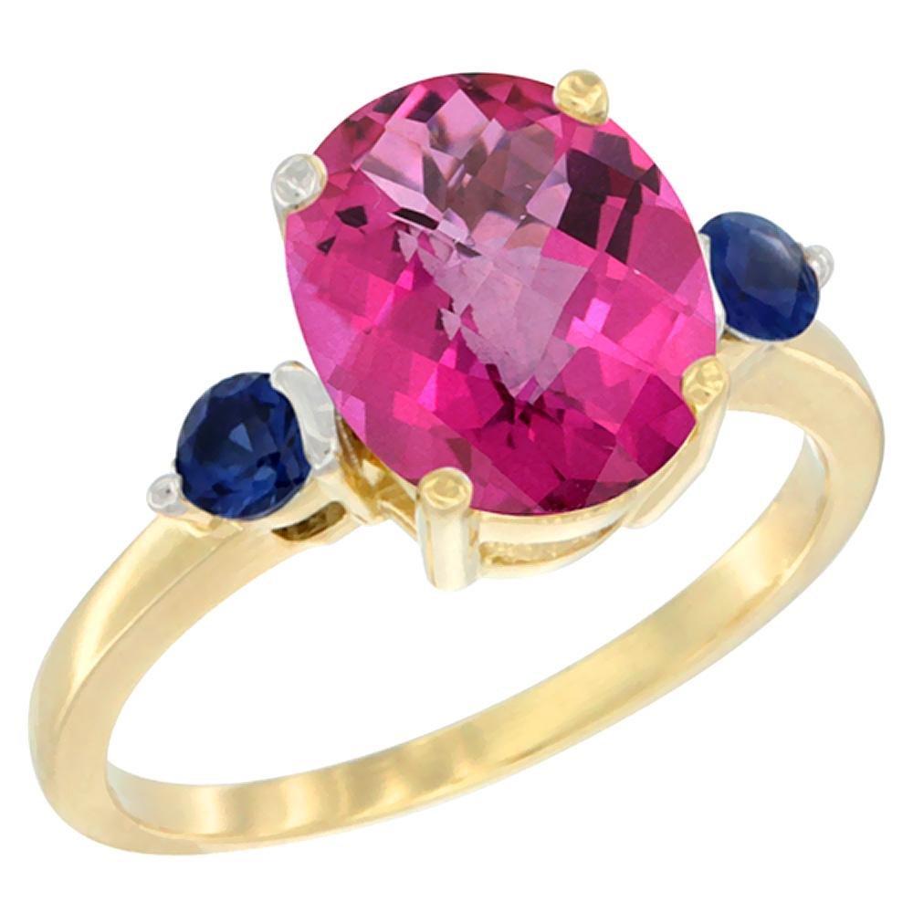 2.64 CTW Pink Topaz & Blue Sapphire Ring 10K Yellow