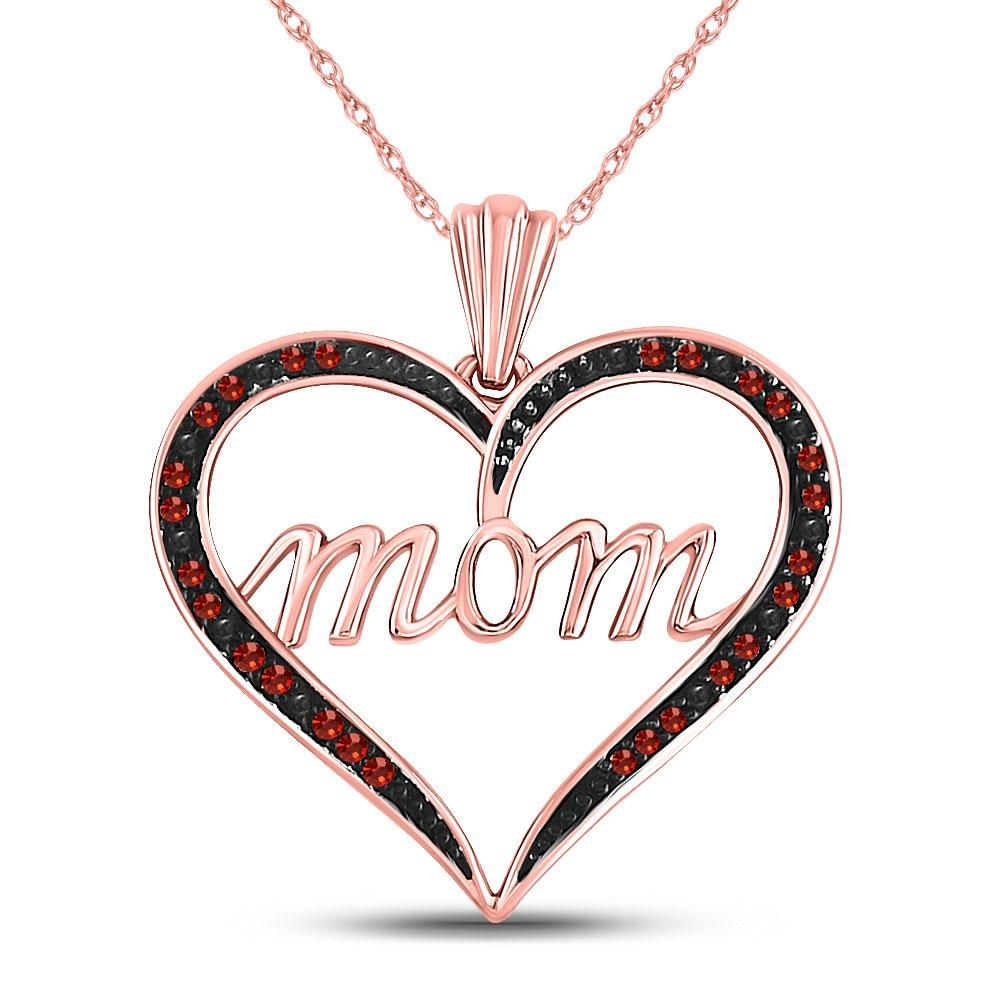Red Color Enhanced Diamond Mom Heart Mothers Day