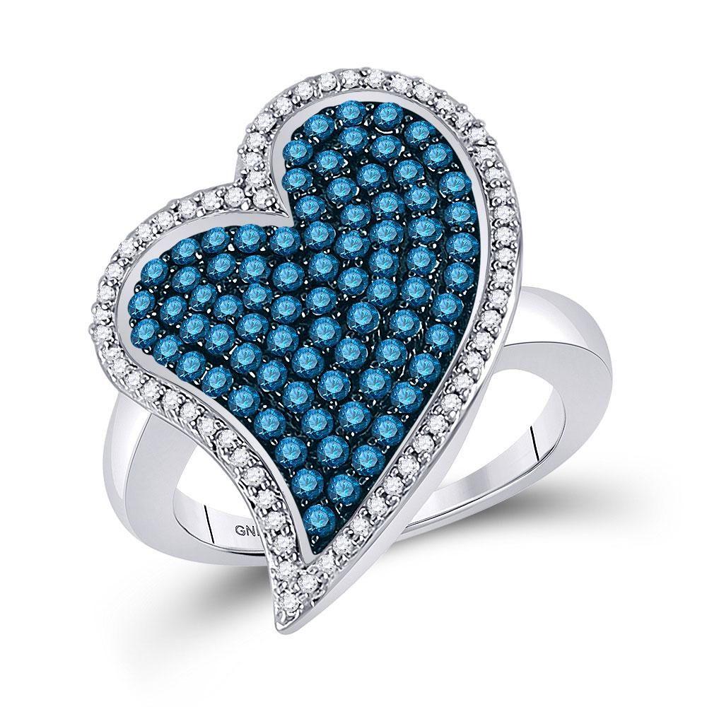 Round Blue Color Enhanced Diamond Large Heart Cluster