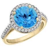 244 CTW Swiss Blue Topaz Diamond Ring 10K Yellow