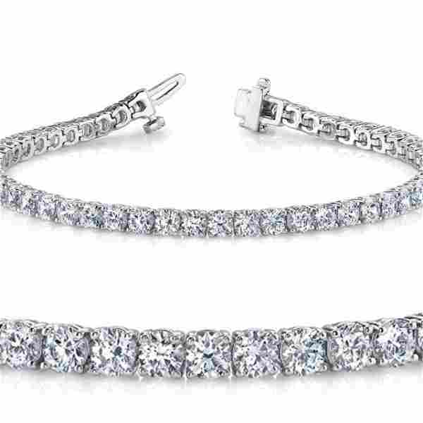 Natural 4ct VSSI Diamond Tennis Bracelet 14K White