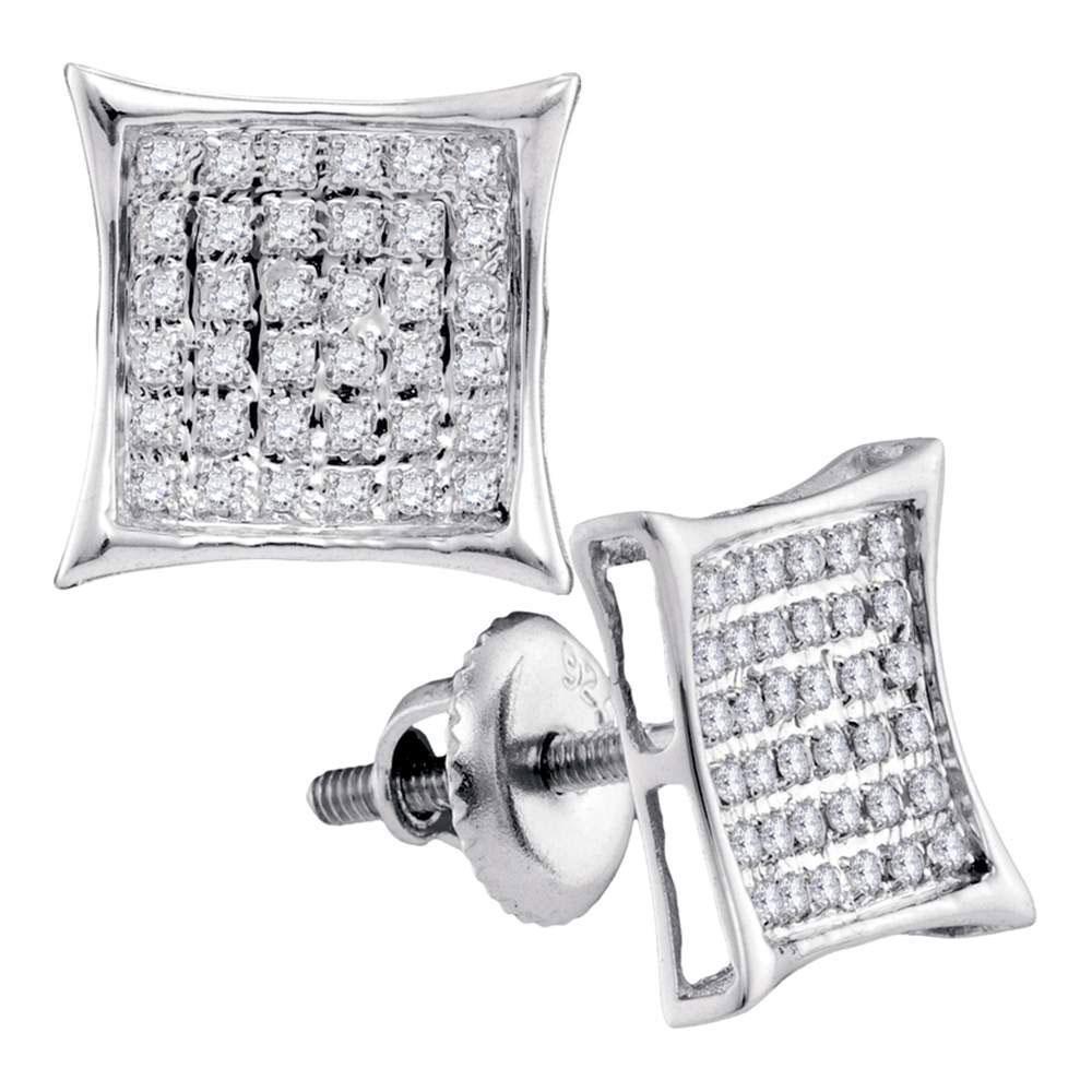 Diamond Square Cluster Earrings 1/4 Cttw 10kt White