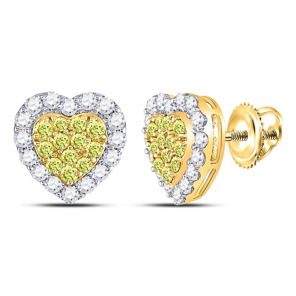 Round Yellow Diamond Heart Cluster Earrings 1-1/3 Cttw