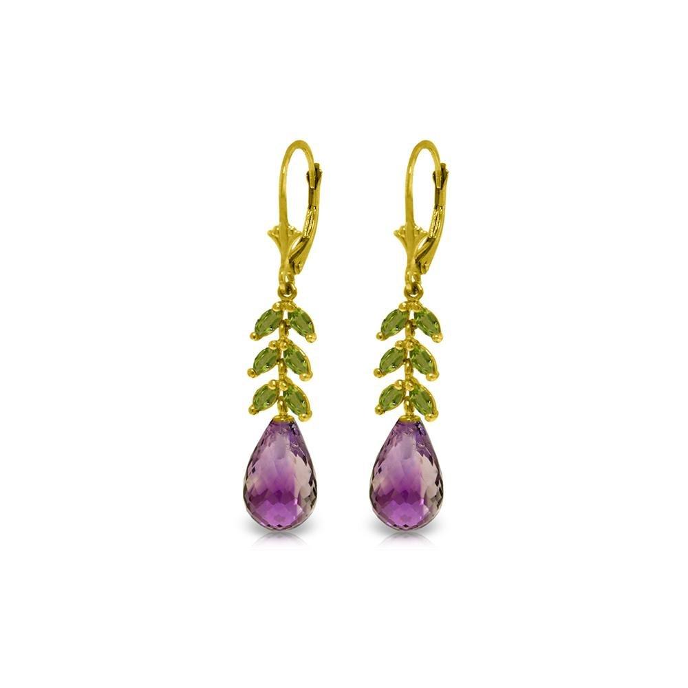 Genuine 11.20 ctw Amethyst & Peridot Earrings 14KT