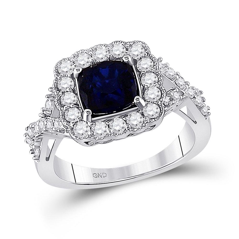 Lab-Created Blue Sapphire Solitaire Ring 3-3/4 Cttw