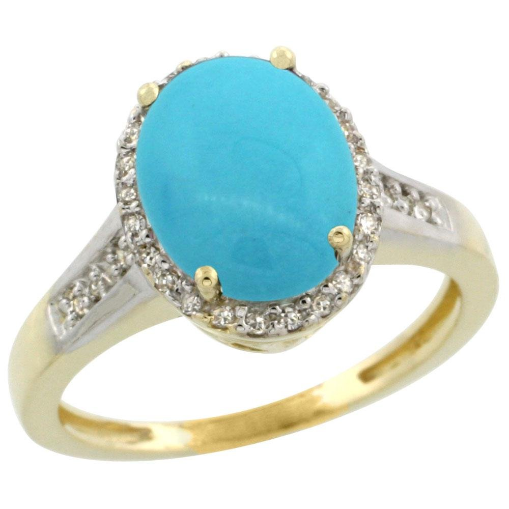 2.60 CTW Turquoise & Diamond Ring 14K Yellow Gold -