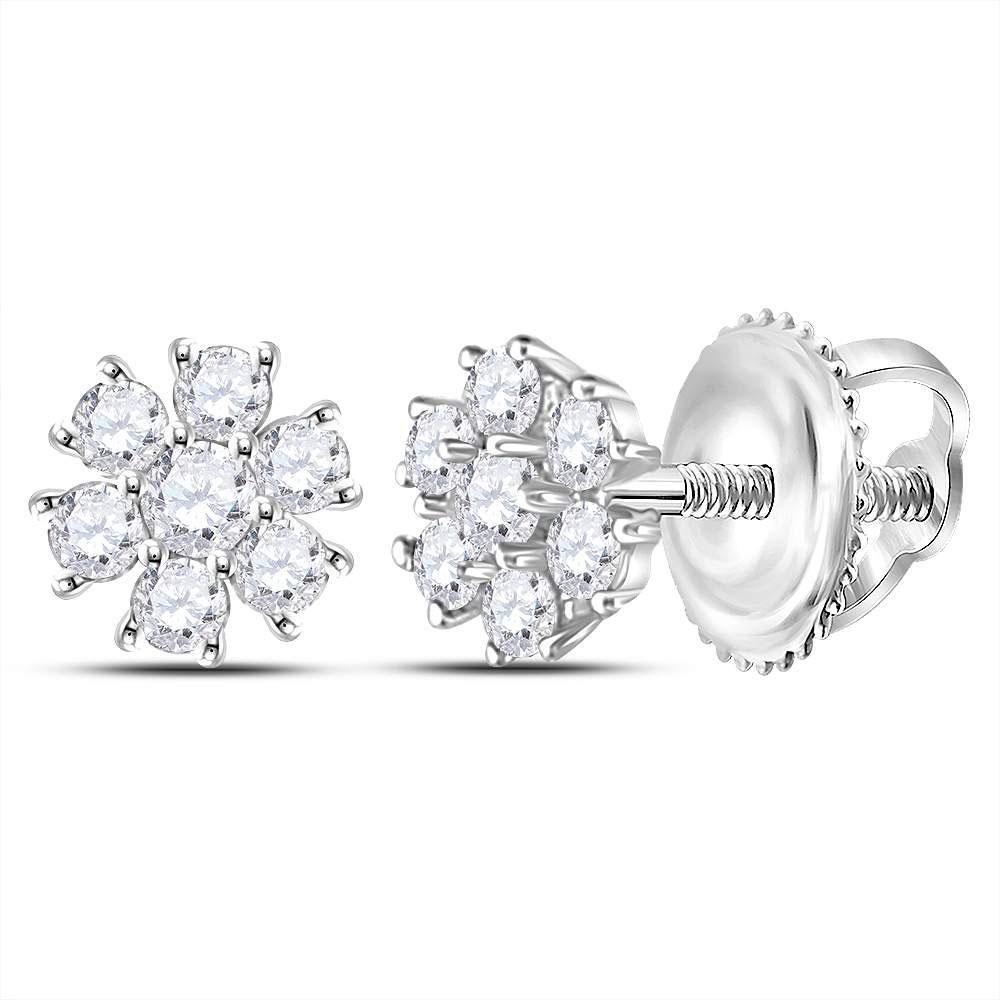 Diamond Flower Cluster Burst Earrings 1/8 Cttw 10kt