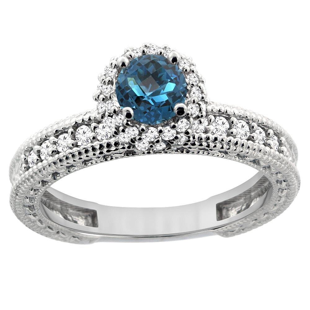 0.91 CTW London Blue Topaz & Diamond Ring 14K White