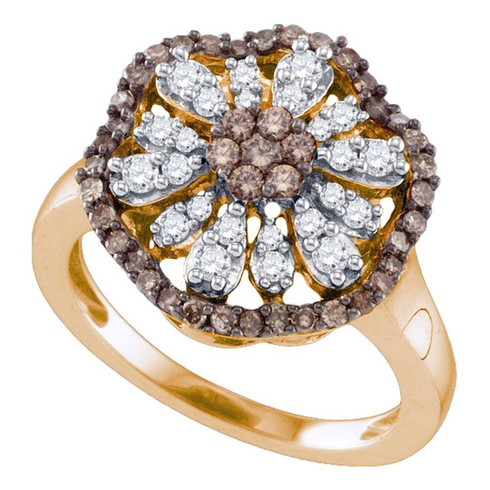 Brown Diamond Flower Cluster Ring 3/4 Cttw 10k Rose