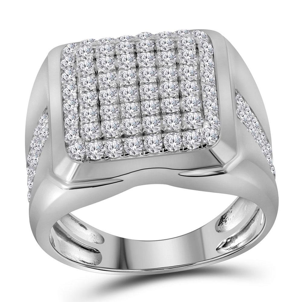 Mens Diamond Square Cluster Fashion Ring 2.00 Cttw 10kt