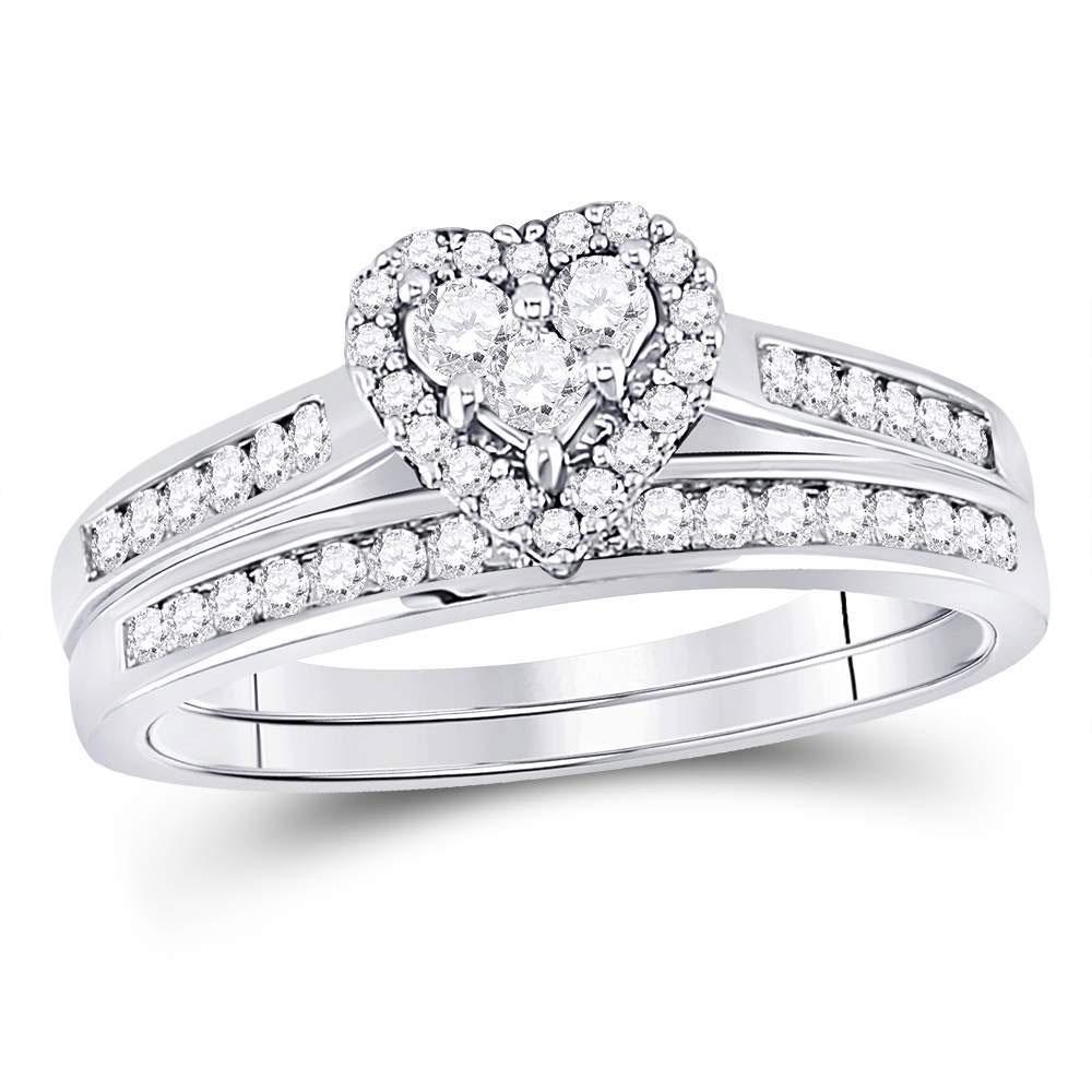 Diamond Heart Bridal Wedding Engagement Ring Band Set