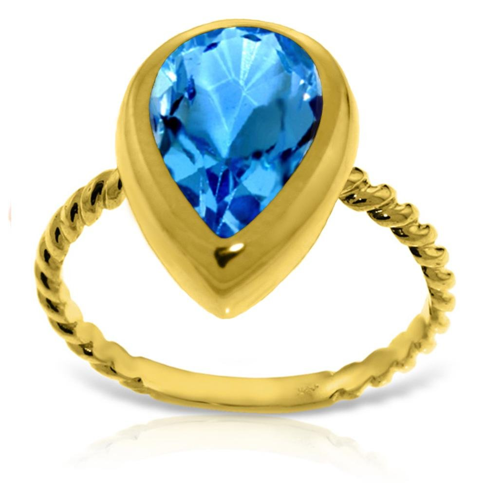 Genuine 4 ctw Blue Topaz Ring 14KT Yellow Gold -