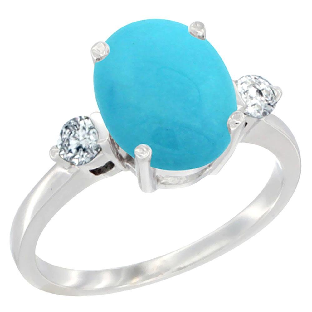 2.60 CTW Turquoise & Diamond Ring 14K White Gold -
