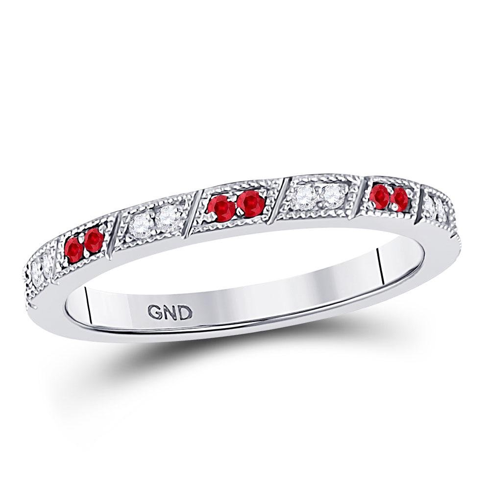 Round Ruby Diamond Milgrain Stackable Band Ring 1/4