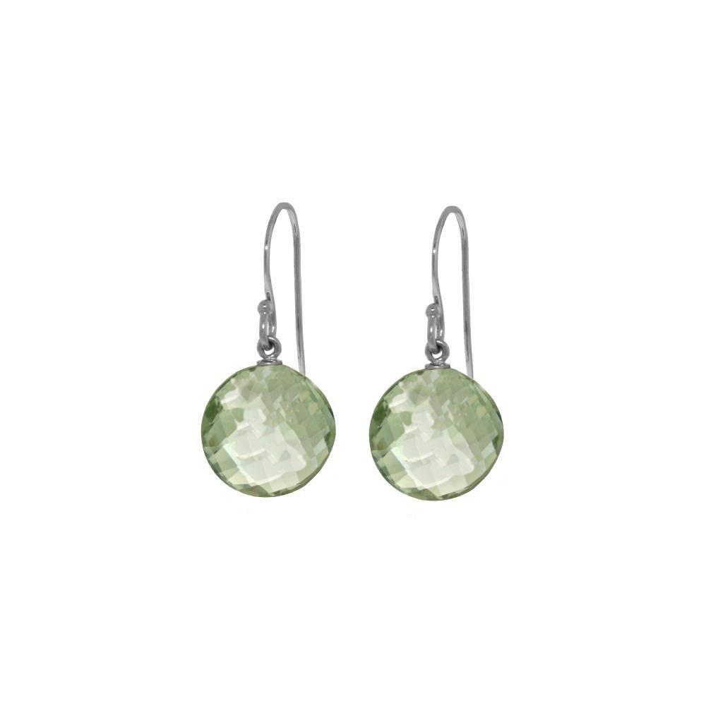 Genuine 12 ctw Green Amethyst Earrings 14KT White Gold