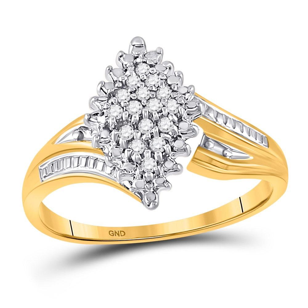 Round Prong-set Diamond Oval Cluster Ring 1/8 Cttw 10kt