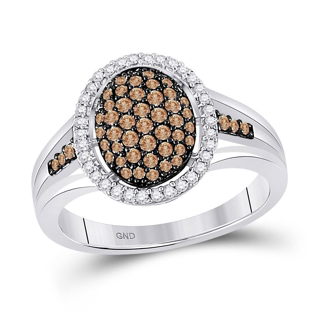 Round Brown Diamond Oval Cluster Ring 1/2 Cttw 10kt