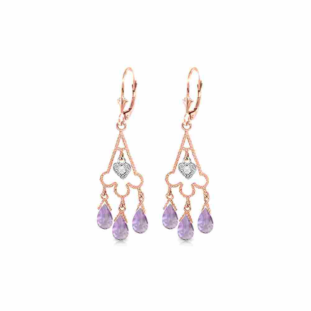 Genuine 4.83 ctw Amethyst & Diamond Earrings 14KT Rose